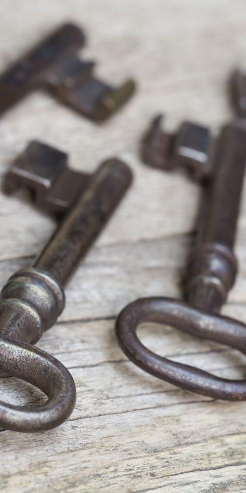 iron keys on table
