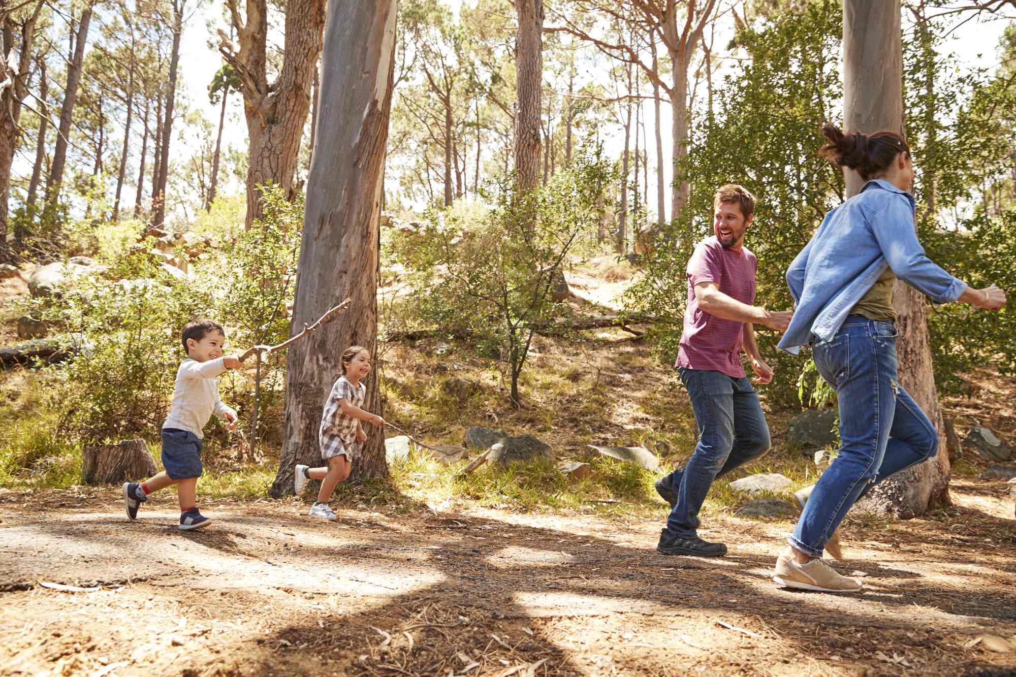 family-running-along-path-through-forest-together-PYZF87D